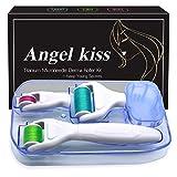 Derma Roller Microneedling for Face & Body - Angel Kiss 4 in 1 Golden Titanium Microneedle Roller Cosmetic Needling Instrument Kit - 300/720 Needles 0.25mm, 1200 Needles 0.3mm Dermaroller