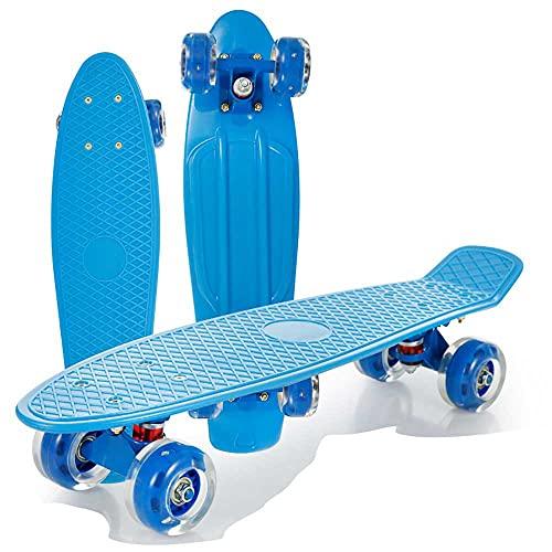 AXB Mini Skateboard Monopatin, 22''Mini Cruiser Retro Crucero 4 PU Ruedas Traslúcidas ABEC-7 Rodamientos para Niños Jóvenes Adultos Principiantes