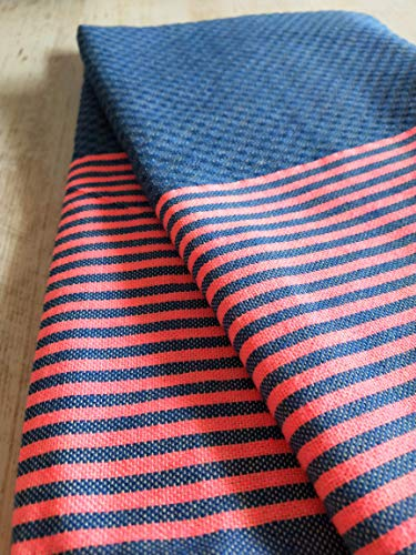 Toalla Fouta Miami, XL 100 x 200 cm, 100% algodón, 380 g Suave, Flexible, Absorbente y Ligera. Toalla de Playa, Mantel, sofá, Colcha, paréo, Picnic (Azul índigo, Rosa neón)