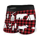 LAOLUCKY Buffalo Plaid Woodland Winter Herren Unterwäsche Boxershorts für Jungen Jugendliche, Polyester Spandex Komfort Gr. X-Large, Schwarz