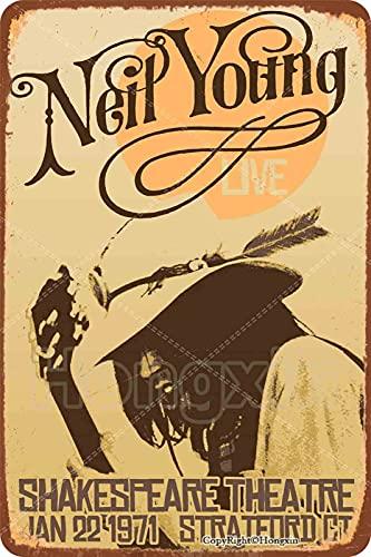 1971 Neil Young Live Shakespeare Theatre Cartel de letrero de metal, placa retro, arte, aspecto vintage, decoración de pared, bar, pub, café, hombre, cueva, 8 × 12 pulgadas