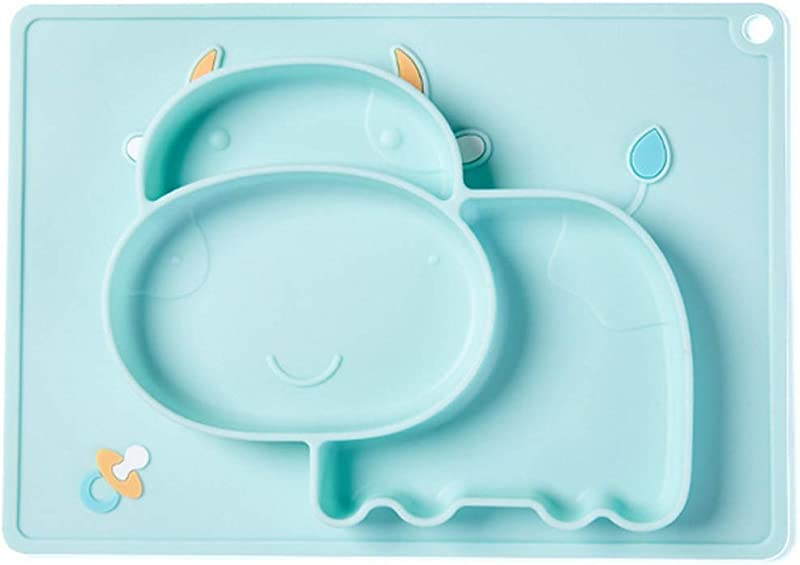 Babys Plate Cartoon Cow Silicone 3 Divisions Sucker Food Supplement Portable One Hanging Toddler Children Baby Feeding Blue