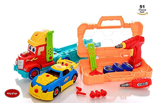 King Of Toys Take Apart 51 Piece Toy Set Truck Carrier Tool Box with Racing Car, Power Drill, And Realistic Lights and Sounds Hours of Fun Toy for Boys & Girls Age 3, 4, 5 +Year Old