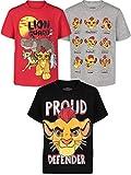 Disney Lion Guard Kion Toddler Boys 3 Pack Graphic Short Sleeve T-Shirt Red/Grey/Black 2T
