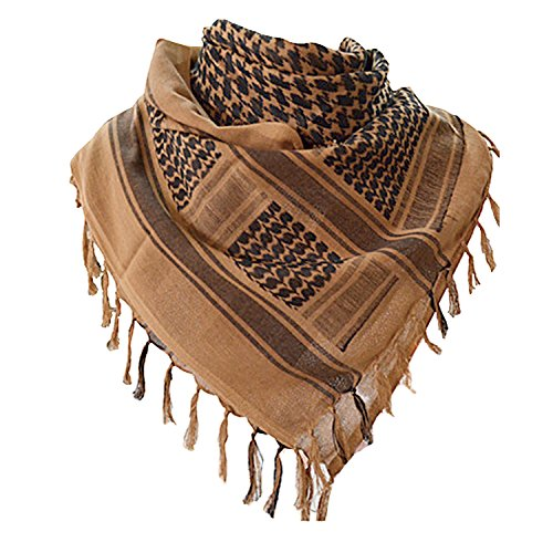 Military Shemagh Tactical Desert 100% Cotton Keffiyeh Scarf Wrap,A-tan