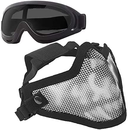 Anyoupin Airsoft Mask and Goggles Set Adjustable Metal Steel Mesh Half Face Mask with Ultra product image