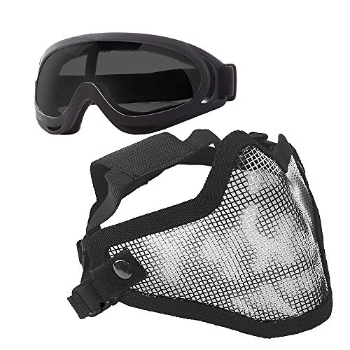 Anyoupin Airsoft Mask and Goggles Set Adjustable Metal Steel Mesh Half Face Mask with Ultra-Violet Protective Outdoor Glasses Goggles for Paintball Shooting Cosplay War Game Black Skull & Gray Goggles