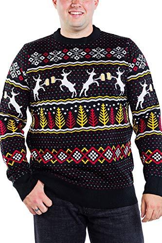 Tipsy Elves Men's Deer with Beer Christmas Sweater - Black Caribrew Ugly Christmas Sweater: Medium