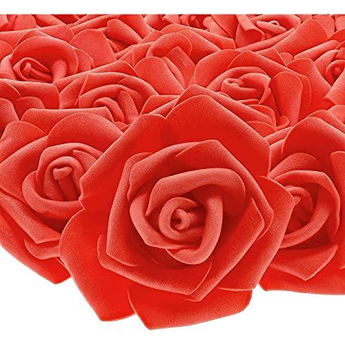 Rosas artificiales sin tallo para boda, San Valentín y bricolaje (3 pulgadas, rojo, 100 unidades)