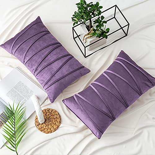 NATUS WEAVER Purple Lumbar Throw Pillow Covers 12 x 20 for Couch Sofa Bedroom Car 2 Pieces Hand-Made Soft Velvet Striped Cushion Covers Decorative Zigzag Stripe