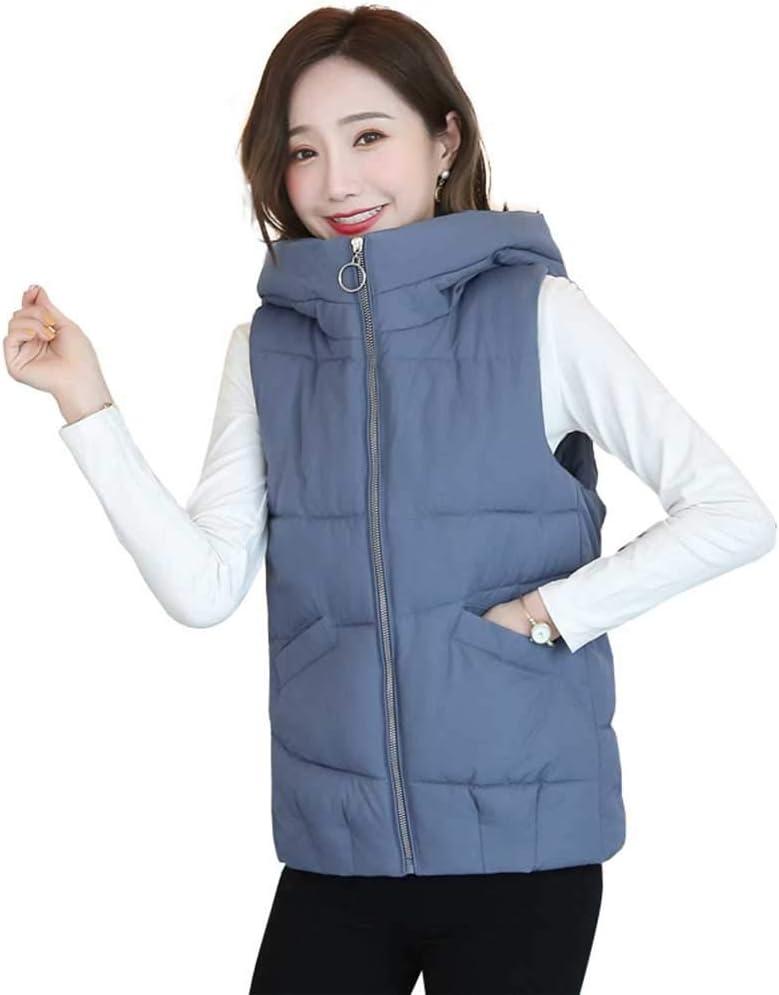 RSTJ-Sjc Women's Stand Collar Lightweight Quilted Vest Jacket Winter Warm Hooded Waistcoat Outerwear Jacket Coat with Pockets Warm Winter Casual Daily Coats for Teen Girls,Blue,XXXL