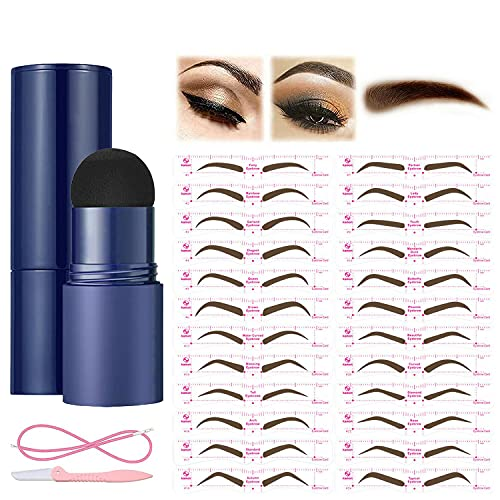 Kit profesional de sellos para cejas, con 24 pares de plantillas para cejas, 1 pincel y 1 recortador, maquillaje de cejas de larga duración, color marrón oscuro