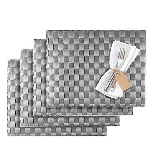 Westmark Tischsets/Platzsets, 4 Stück, 40 x 30 cm, Polypropylen, Gewebe, Lebensmittelecht, Abwischbar, Grau/Schiefer, Saleen Edition: Classic 101