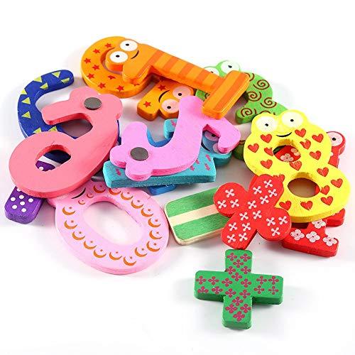 Cosiki Regalo para niños, Figuras, imán de Nevera, 5 símbolos matemáticos, Letras de Madera, Colores Brillantes, Material Natural Encantador, Juguetes interactivos para la coordinación Mano-Ojo