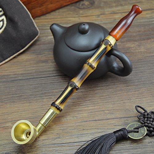 Liuyu · Maison de vie Tabac Pipe Tabac Sacs Onyx Cigarette Titulaire Bambou Fumée Pôle Laiton Fumée Pot Pipe 20cm ( Couleur : Filter dual-use type )