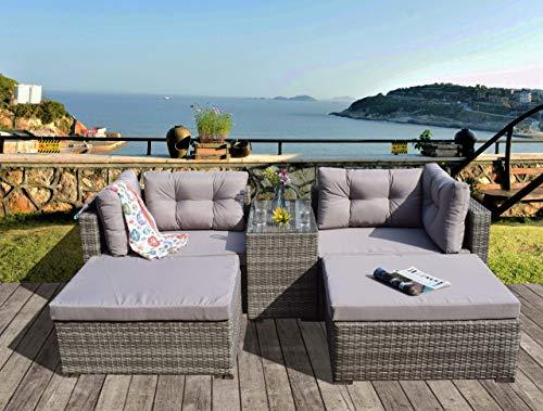 UK Leisure World RATTAN CONSERVATORY GARDEN WICKER OUTDOOR SUN LOUNGER SOFA TABLE FURNITURE SET CUBE CORNER TABLE GREY DINING (Grey)