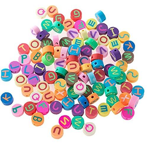 100 Unids Beads De Letras Color Mezclado Letra De Letra Polímero Clay Beads para Joyería Hacienda Pulseras Pulseras Collar Hecho a Mano Haciendo Accesorios