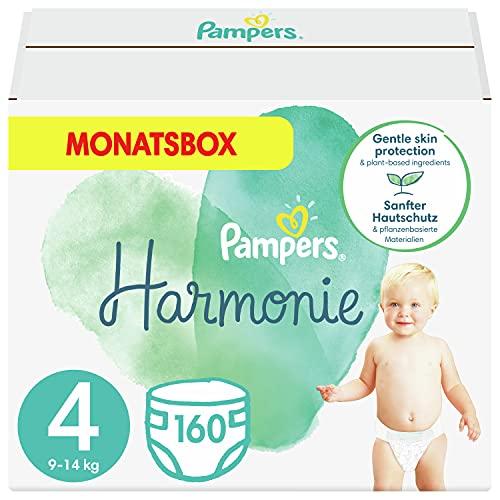 Pampers Größe 4 Harmonie Baby Windeln, 160 Stück, MONATSBOX, Mit Premium-Baumwolle Und Pflanzenbasierten Materialien (9-14 kg)