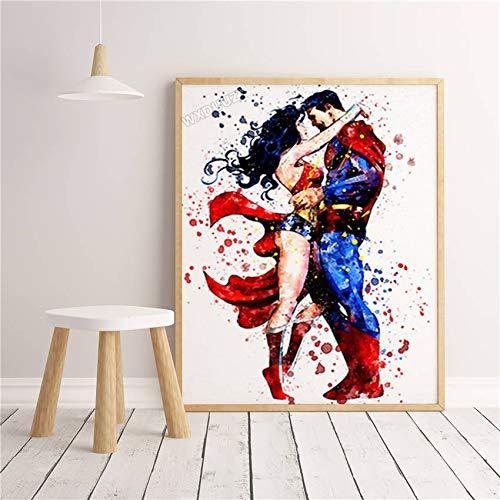 SDFSD Graffiti Wall Art Acuarela Superhéroe Superpoder Personaje de película de Dibujos Animados Decoración para el hogar Habitación para niños Carteles Lienzo Pintura 60 * 80 cm L