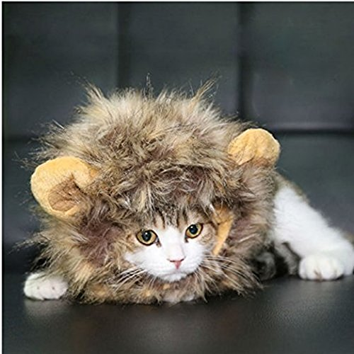 homiki Dog Cat Artificial Lion Mane peluca sombrero Pet Dress Up con orejas Halloween Party Festival