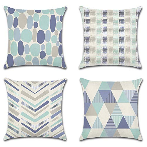 Artscope Set of 4 Decorative Cushion Covers 45x45cm, Geometric Blue Waterproof Throw Pillow Covers, Perfect to Outdoor Patio Garden Blench Living Room Sofa Farmhouse Decor