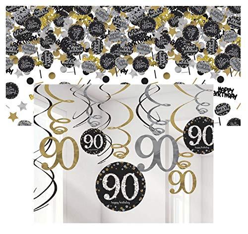 Feste Feiern Party-Deko 90. Geburtstag 13 Teile Dekoration Deckenhänger Swirl Tischkonfetti Gold Schwarz Silber metallic Tischdeko Happy Birthday 90