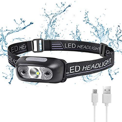 Flintronic Lampada Frontale LED, USB Ricaricabile Torcia Frontale con 4 Modalità di Illuminazione E Sensore Movimento, Luce da Testa IPX6 Impermeabile Luce Frontale Adatto a Bambini e Adulti Campeggio