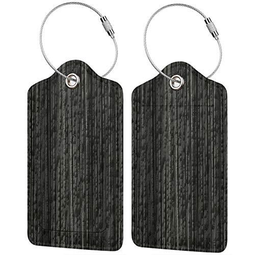 FULIYA Juego de 2 etiquetas de equipaje seguras de alta gama de cuero para maletas, tarjetas de visita o bolsa de identificación de viaje, textura, superficie, piedra, gris, desigual