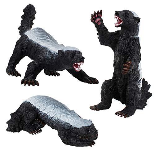 CUTICATE 3pcs Kunststoff Wildtier Figuren Honigdachs Modell Kinder Pädagogisches Spielzeug Sammlungen