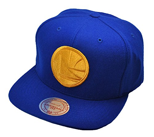 Mitchell & Ness Golden State Warriors blauw snapback cap logo wol