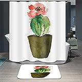 ChickwinCortinadeDuchaCortinas Baño ImpermeableAntimohoPoliéster 3D Cactus Suculento ImpresiónCortina bañera CortinadeBañeraLavableaMáquina con12Anillas (Rojo,180x180cm)