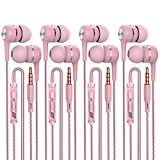 A12 Headphones Earphones Earbuds Earphones, Noise Islating, High Definition, Fits All 3.5mm Interface,Stereo for Samsung, iPhone,iPad, iPod and Mp3 Players (Pink 4pairs)