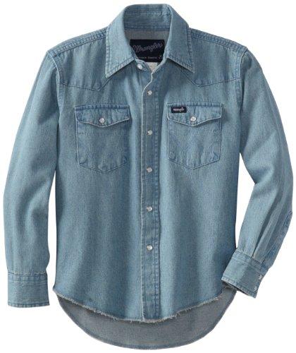 Wrangler Boys' Western Solid Snap Shirt, Stonewashed Indigo, S