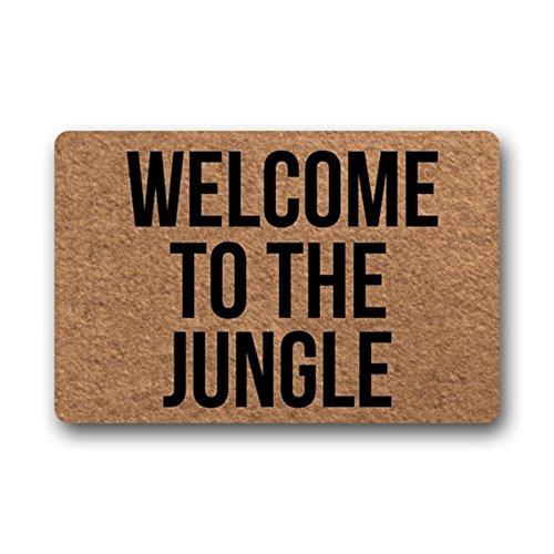 Eureya Felpudo interior / exterior, alfombrilla de goma para cocina, decoración del hogar, 40 x 60 cm, Welcome to the Jungle, 40x60cm