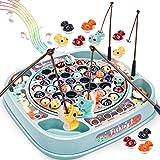 Dreamon Juego de Pesca de Mesa para Niño Pescado Coloridos Musical Pescar Conjunto Juguetes Educativos Regalo para Niños Niñas
