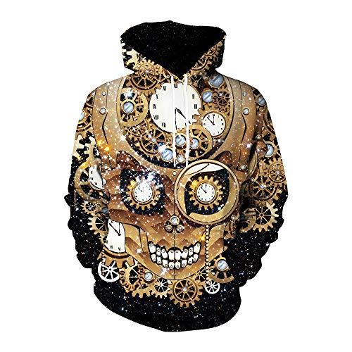 TTJZ Männer Kapuzenpullover, Beängstigend 3D-Metal-Stil Halloween Schädel Langarm-Pullover in Mode Unisex-Jacke,Gold,S