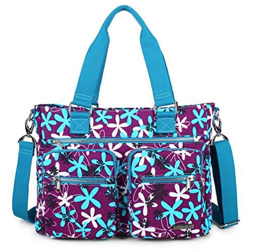 Crest Design Nylon Laptop Shoulder Bag Handbag Teacher Nurse Tote Organizer Travel Work Bag Purse (One Size, Laurentia)