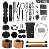 40 Pcs Hair Styling Accessories Kit Set Bun Maker Hair Braid Tool for...