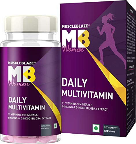 MuscleBlaze Daily Multivitamin for Women, 20 Vitamins & Minerals Blend with Antioxidants and Immunity Boosters, 60 Tablets