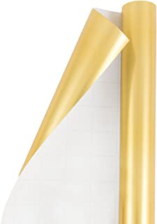 JAM PAPER Gift Wrap - Matte Wrapping Paper - 25 Sq Ft - Matte Gold Foil - Roll Sold Individually