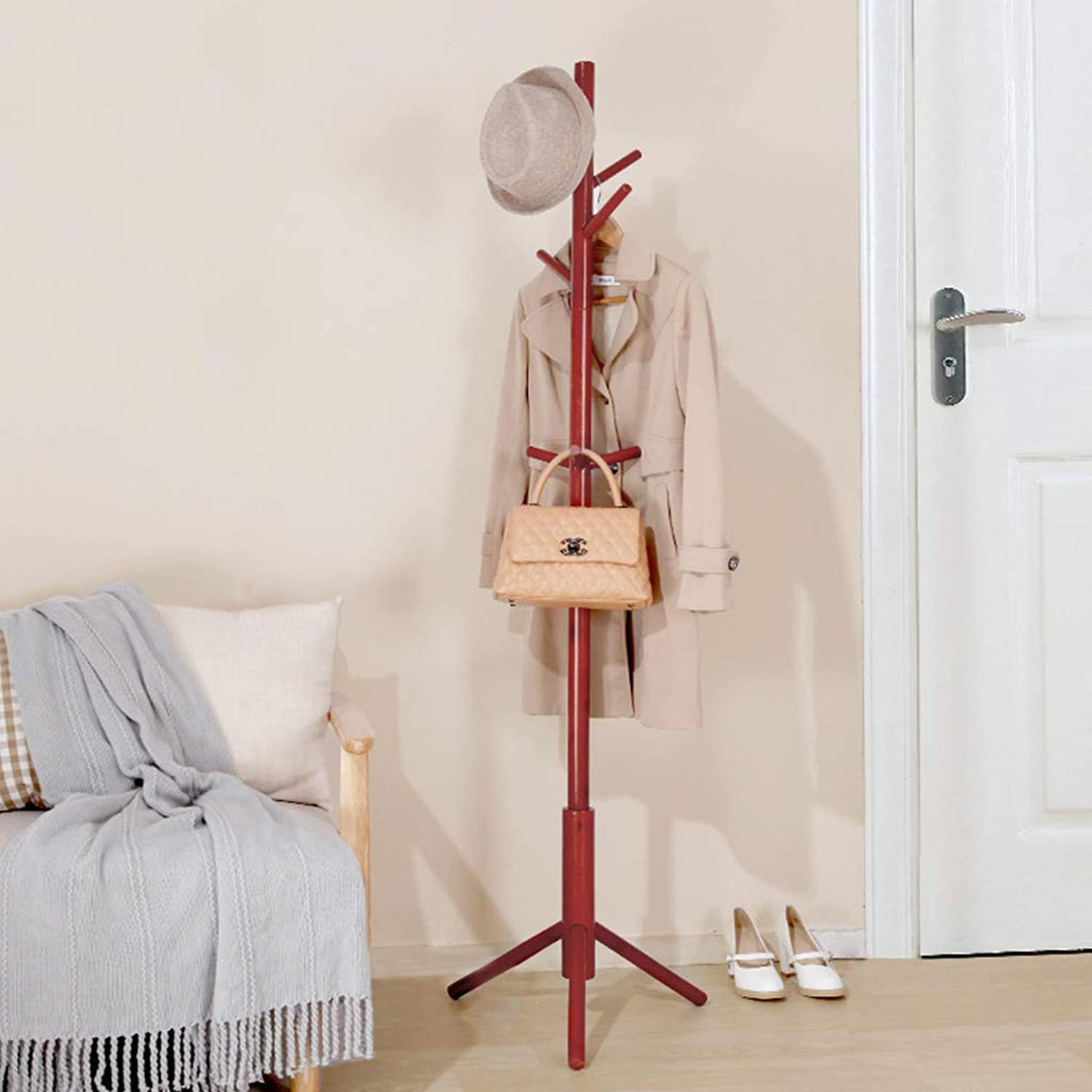 Solid Wood Coat Rack Floor Type Modern Minimalist Bedroom Hanger Living Room Porch Creative Coat Hanging Simple Floor Coat Rack,Brown