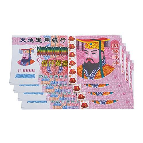 TIREOW 40PC Chinesisches Joss Papier Vorfahr Geld Chinese Heaven Hell Geld Noten Papier Ghost Spirit mit Nennwert 5000000000000