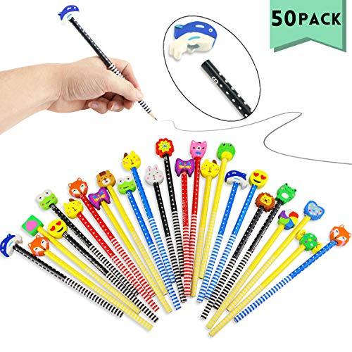 Etmact 50 Pack Assorted Colorful Cartoon Animal Pencil with Eraser Novelty Dot & Stripe Giant Eraser Topper Kids Pencils … (1)