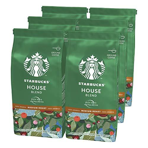 STARBUCKS House Blend Filterkaffee, Röstkaffee gemahlen, Mittlere Röstung (6 x 200g)