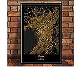 DLTYXME Póster Decoración Mapa Cartel Imprimir Viaje Pintura Arte Pared Imagen Sala de Estar decoración del hogar40x60cm (16x24 Inch)