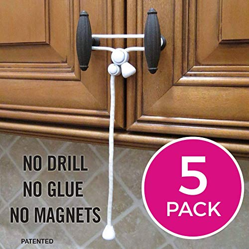 No Tools Door Lever Lock 5 Mixed Pack No Drill Door Handle Lock Oven No Screw Toilet Seat Adjustable Strap Latches to Drawers Cabinets Cabinet Locks Child Safety