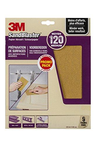 3M Sandblaster Lot de 9 Feuilles Abrasives pour Prépration P120