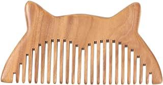 Pente de cabelo de madeira natural com dentes largos da Beaupretty com pente de madeira antiestática para orelhas de gato,...