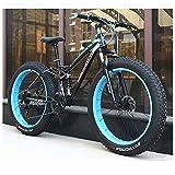 QIMENG Bicicleta Montaña 24'/26' Bicicleta Montaña Adulto Frenos De Disco Suspensión Doble para Hombres Y Mujeres Marco De Acero De Alto Carbono Adultos Unisex,Azul,26inches 21speed
