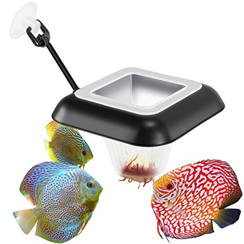 Fischuel Aquarium Feeding Ring Floating Rings Food Feeder Feeding Trough Square with Suction Cup for Fish Feeder with Blood Worms Meal Worms